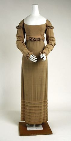Dress of Pale Cocoa Silk. American, c. 1810. by lynette