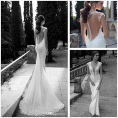 Wholesale Mermaid Wedding Dresses - Buy Berta Winter 2014 Lace Sheer Wedding Dresses Deep V Neck Illusion Back Covered Button Mermaid  $159