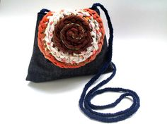 Fabric Crochet flap Purse  denim  small  recycled reused by TUKON, $29.20