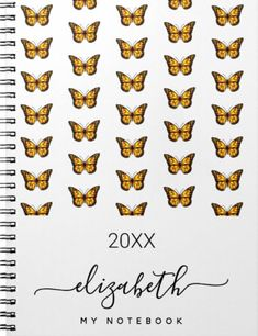 A chic white background decorated with a butterfly pattern in black and faux gold. Personalize and add your name, a title and a year. The name is written with a black modern hand lettered style script with swashes. Black Gold, Black And White, Work Family, Butterfly Pattern, Custom Notebooks, Nordic Design, White Patterns, Hand Lettering, Script