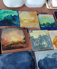 Many small landscape paintings in progress Painting Process, Landscape Paintings, Art, Idea Paint, Art Background, Kunst, Landscape, Performing Arts, Landscape Drawings