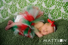 Christmas Holiday Tutu - Red Ivory White Green - Newborn Infant Baby Toddler Girl Outfit - Photography Prop - December Birthday Present. $25.00, via Etsy.