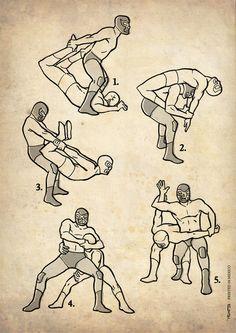 Lucha Libre illustrations by Adrien Noterdaem, via Behance
