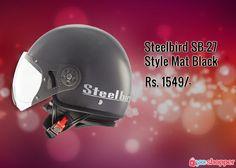 #Bikerssafety Steelbird SB-27 Style Mat Black #helmet order now from www.yooshopper.com,http://bit.ly/2inlLbR