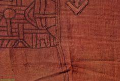 Kuba Raffia Textile Red Ntshak. Africa. Congo. Raffia, pigment/dyes. Mid 20th century. EBay: Africa Direct