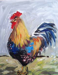 Rooster on Canvas Painting by DevinePaintings on Etsy, $68.00
