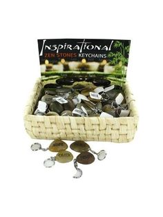 Inspirational Zen Stones Keychains Counter Top Display (Available in a pack of 72)