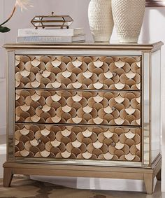This Honey Gold Mirror Cabinet is perfect! LOVE the detailed panels...Zulily.com