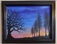 Sunset Painting Original Coastal Art Sunrise Painting  Framed ArtForest Trees Beautiful Woods Silhouette Landscape Scene Oak Tree Home Decor