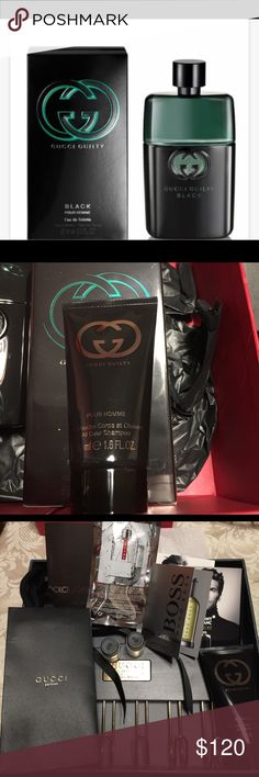 Gucci GUILTY  Black Pour Homme Eau de Gift set ype:Eau de Toilette Size:3 ounce Brand:Gucci Gucci Guilty Black Pour Homme is a daring, aromatique fragrance, inviting you to indulge in your deepest desires. Life is thrilling and meant to be lived to the fullest. Gucci Guilty Black:indulge in your deepest desires.uncompromisingly alluring. Experience GUCCI 3.3 oz , Gucci guilty shampoo 1.6 ounces, Gucci tie rack, samples of Dylan blue, Gucci made to measure , boss , Prada, D&G one and extra…