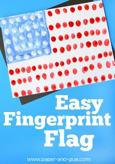 Fourth of July Fingerprint Flag. This simple painting activity for Independence Day is an easy craft for toddlers, preschool, kindergarten, or elementary kids. Summer Crafts For Toddlers, Easy Toddler Crafts, Craft Activities For Kids, Babysitting Activities, Spring Activities, Outdoor Activities, Independence Day Theme, Independence Day Activities, Kindergarten Activities