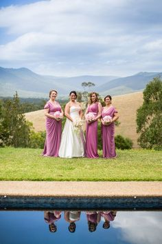 Kristen, the stunning bride, dressed her bridesmaids in different Pia Gladys Perey dresses