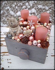 Simple And Popular Christmas Decorations, Table Decorations, Christmas Candles, DIY Christmas Center Rose Gold Christmas Decorations, Christmas Candles, Christmas Balls, Xmas Decorations, Winter Christmas, Christmas Wreaths, Christmas Crafts, Christmas Ornaments, Winter Centerpieces