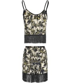 Two Piece Co-Ordinate, Tropical Palm Tree Print, Tassel Fringe Embellishment To Hem, Crop Top, Adjustable Straps, Short Style Bottoms, High Waisted.  Elasticated Stretch Waistband  Colour: Black White Yellow  £20