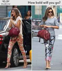Fashion Tip- Bold printed pants  This season keep your bold printed pants in place while running through the rain or playing in a puddles!