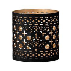 Day Birger Et Mikkelsen Metal Votive - Black/Gold - Design 2 (£12) ❤ liked on Polyvore featuring home, home decor, candles & candleholders, black, black tealight candles, day birger et mikkelsen, glitter candles, black home decor and metal home decor