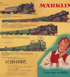 What makes little boys dream ? Very nice 1950's ad for the Rolls Royce among miniature trains, the German company Marklin.