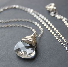 Clear Crystal Pendant Necklace Sparkling by GreenRibbonGems, $34.00