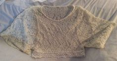 Boutique Lovely 153 Boho Soft Lace Ivory White Dolman Sleeve Crop Top S #Lovely #CropTop