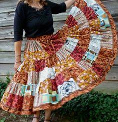 Autumn Calico Patchwork Skirt