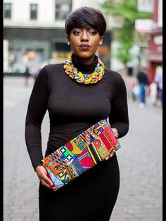 Ankara African print cord braid necklace statement by Laviye African Attire, African Wear, African Dress, African Necklace, African Jewelry, African Print Fashion, Fashion Prints, Ankara Bags, African Accessories
