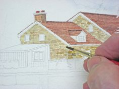step by step house in watercolour...good
