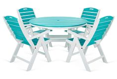 Relaxed enough for casual dining yet perfectly suited for elegant affairs, this Nautical Dining Set in Aruba includes a round table and four chairs with a three-position adjustab… Outdoor Dining Set, Outdoor Spaces, Outdoor Chairs, Outdoor Living, Outdoor Furniture Sets, Outdoor Decor, Outdoor Ideas, Tybee Island Beach, 5 Piece Dining Set