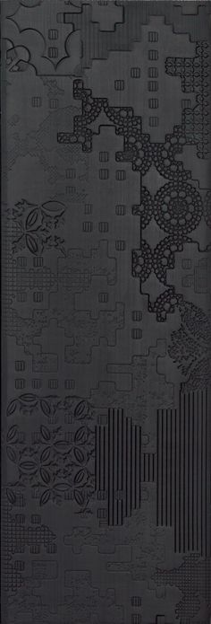 Indoor porcelain stoneware wall/floor tiles BAS-RELIEF PATCHWORK NERO by MUTINA design Patricia Urquiola
