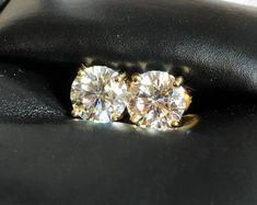 Moissanite   Etsy Pink Diamond Engagement Ring, Engagement Rings, Stone Gold, Stone Names, Prong Set, Diamond Gemstone, Moissanite, White Gold, Stud Earrings