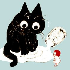 kitty in milk... not sure by whom (let me know if you recognize the illustrator).