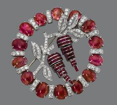 Ruby and Diamond Brooch, Seaman Schepps, circa 1930