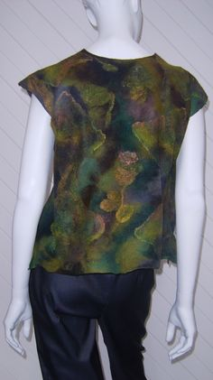 'Ironbark' Vest, nuno felt, merino and silk on silk Georgette , Joni Cornell
