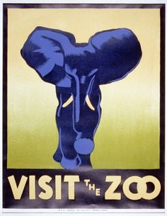 Poster promoting the zoo as a place to visit, showing an elephant.  NOTES: Date stamped on verso: Aug 4 1937. Poster designed by Hugh Stevenson, Philadelphia.    WPA Federal Art Project