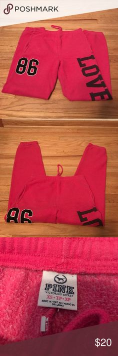 Victoria Secret PINK joggers Hot pink worn comfy joggers purchased from VS PINK, in good condition, no rips. PINK Victoria's Secret Pants Track Pants & Joggers