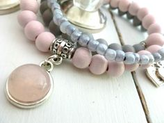 Livia armbandjes lichtroze & grijs