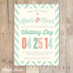 Whimsical Rustic Mint Peach Coral Turquoise Wedding Invitation Printable or Professionally printed Cards