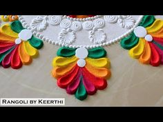 Multicolor rangoli design l rangoli designs l सुंदर रंगोली l rangoli by keerthi l kolam l रंगोली - YouTube