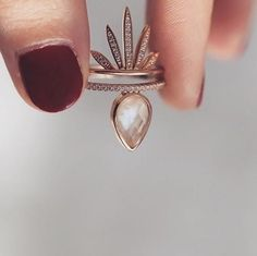 Melanie Auld Moonstone Teardrop Stacking Ring and Gold Pave Fan Earring- great worn alone or stacked https://www.bettinascollection.com/products/melanie-auld-moonstone-teardrop-stacking-rings-gold-pave-fan-size-7