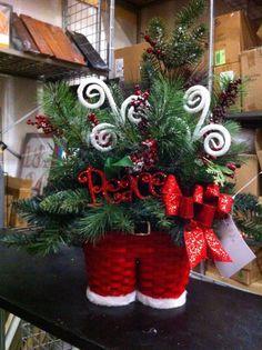 Santa pants floral arrangement by kristy@michaels