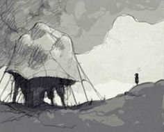 """This is concept art for the game """"LIMBO"""". I really like this style of drawing because it is very stylised and the colour palette is noir, which I am a big fan of."""