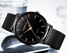Keep your wardrobe simple. Focus on that with this simple dark watch for men.  One of our simple watches for men.