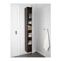 """GODMORGON High cabinet with mirror door, black-brown black-brown - 15 3/4x11 3/4x75 5/8 """" - IKEA"""