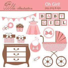 This Oh girl! set comes with 11 cliparts featuring pram, drawer, bib, dress,    bow in decorative frame, baby girl lettering, pin, rattle, gift boxes set, banner and cupcake.
