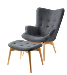 Great Gray Mid Century Modern Chair and Ottoman - See more at: https://www.decorist.com/finds/29268/huggy-mid-century-modern-chair-and-ottoman/