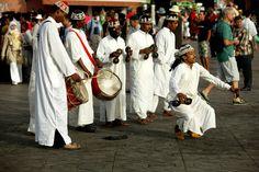 Gnaouas dancers, Dejemaa el-Fna.
