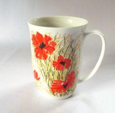 Fitz Floyd Coffee Cup Floral Poppy Red Flowers Neiman Marcus FF Mug