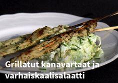 Grillatut kanavartaat ja varhaiskaalisalaatti #kauppahalli24 #resepti #kanavartaat #varhaiskaalisalaatti #salaatti #ruokaideat #verkkoruokakauppa