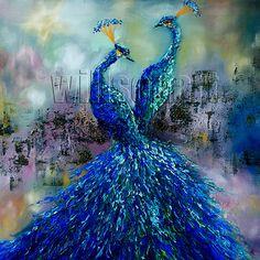 Павлин картины маслом текстурированные мастихином Современный Современный Оригинальный животных искусства 24x24 по Лау Уилсон