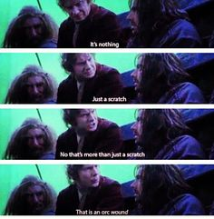 "Bilbo freaking out over Kili's wound. Awwwwww <3 DON""T YOU DARE DIE KILI!!!!! <3"