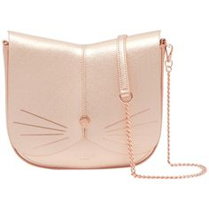 Ted Baker Kittii Cat Leather Across Body Bag (€145) ❤ liked on Polyvore featuring bags, handbags, shoulder bags, rose gold, purses crossbody, crossbody handbag, shoulder handbags, leather man bags and chain strap shoulder bag